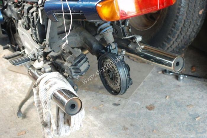 ST1100 rear wheel removed